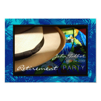 Tropical Retirement Invitation with Blue Palms