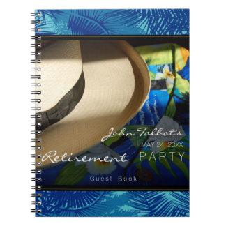 Tropical Retirement with Blue Palms Guest Book Spiral Notebook