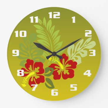 Beach Themed Tropical Retreat inspired design Hibiscus and lime Large Clock