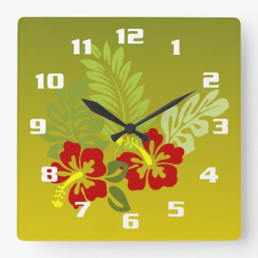 Beach Themed Tropical Retreat inspired design Hibiscus and lime Square Wall Clock