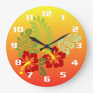 Tropical Retreat inspired Design Hibiscus & Sunset Large Clock