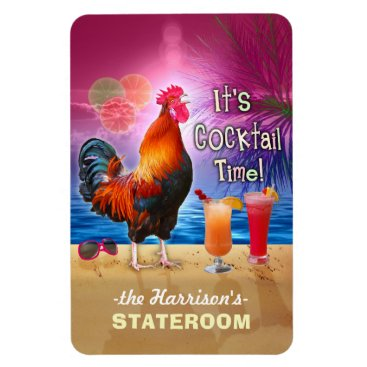 Beach Themed Tropical Rooster Cocktail Funny Cruise Stateroom L Magnet