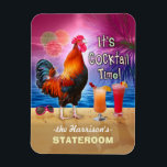 "Tropical Rooster Cocktails Funny Cruise Stateroom Magnet<br><div class=""desc"">The chicken in this humorous design knows what time it is - it&#39;s time to drink, of course, because it&#39;s COCKtail time! This silly tropical magnet is perfect for the stateroom door on a fun adult cruise. It shows a rooster crowing with a couple colorful beverages and a pair of...</div>"