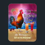 """Tropical Rooster Cocktails Funny Cruise Stateroom Magnet<br><div class=""""desc"""">The chicken in this humorous design knows what time it is - it&#39;s time to drink, of course, because it&#39;s COCKtail time! This silly tropical magnet is perfect for the stateroom door on a fun adult cruise. It shows a rooster crowing with a couple colorful beverages and a pair of...</div>"""