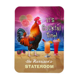 Tropical Rooster Cocktails Funny Cruise Stateroom Magnet