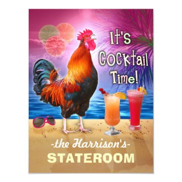 Beach Themed Tropical Rooster Cocktails Funny Cruise Stateroom Magnetic Card