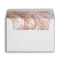 Tropical rose gold palm tree leaf marble pattern envelope