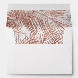 Tropical rose gold palm tree leaf marble pattern envelope