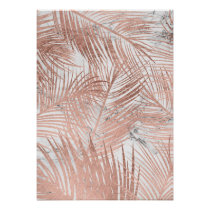 Tropical rose gold palm tree leaf marble pattern poster