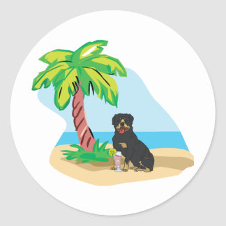 tropical rottweiler classic round sticker