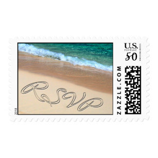 Tropical RSVP Beach Wedding  Save The Date Postage