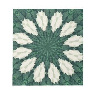 Tropical Sacramento Green and Silver Leaf Mandala. Notepad