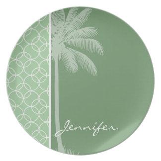 Tropical Sage Green Circles Party Plates