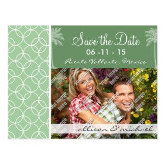 Tropical Sage Green Circles Postcard