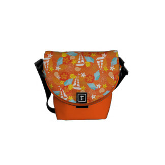 Tropical Sailboat Pattern Messenger Bag