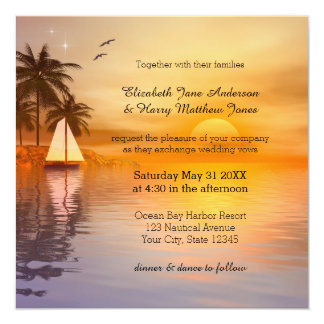 Tropical Sailing Destination Wedding Invitation
