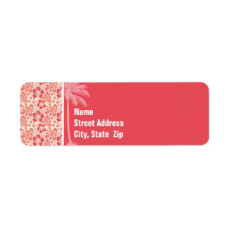 Tropical Salmon & Coral Pink Floral Pattern Label