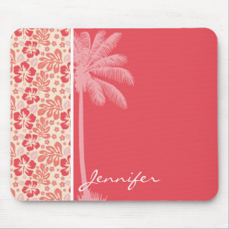 Tropical Salmon & Coral Pink Floral Pattern Mouse Pad
