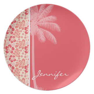 Tropical Salmon & Coral Pink Floral Pattern Plates