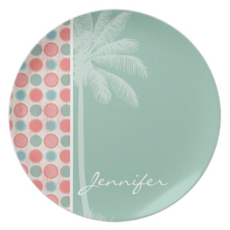 Tropical Salmon, Coral Pink, & Seafoam Dinner Plate