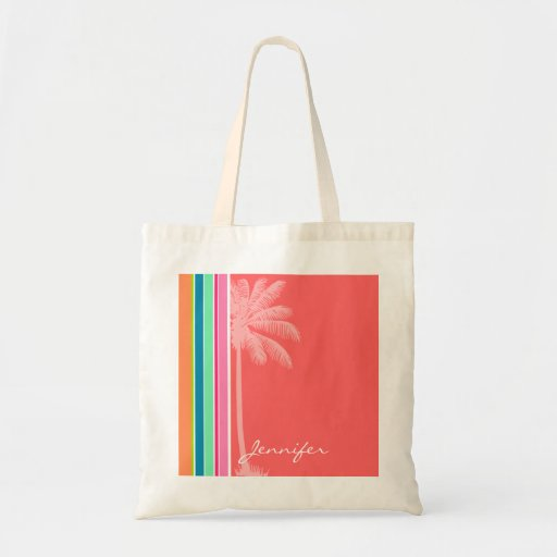 Tropical Salmon Pink & Seafoam Green Canvas Bags