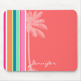 Tropical Salmon Pink & Seafoam Green Mouse Pad