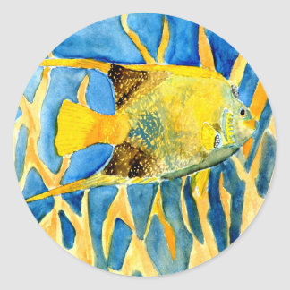 tropical saltwater fish sea life art painting gift classic round sticker