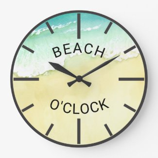 Tropical Sand and Ocean Waves Beach O'Clock Large Clock