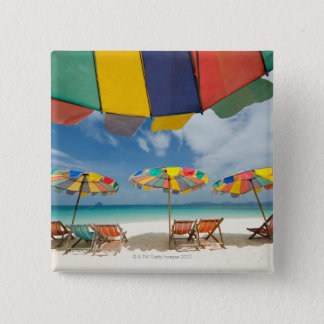 Tropical sand beach and turquoise sea. 2 pinback button