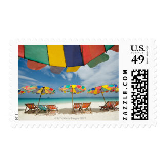 Tropical sand beach and turquoise sea. 2 postage stamps