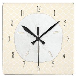 Tropical Sand Dollar Cream Quatrefoil Square Wall Clock