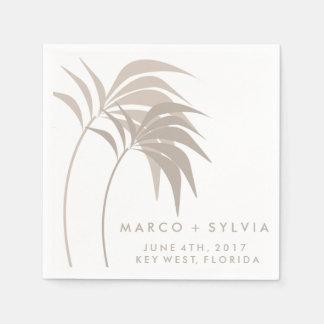 Tropical Sand Palm Tree Beach Wedding Napkins Standard Cocktail Napkin
