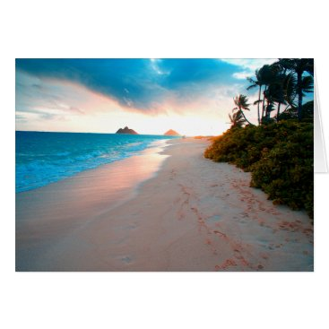 Beach Themed Tropical Sandy Beach Sunset Card