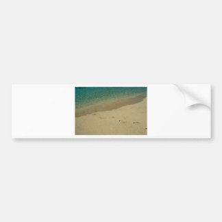 Tropical sandy beach with footprints bumper sticker