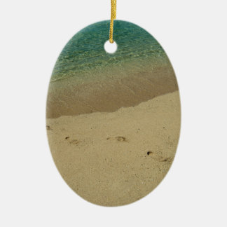 Tropical sandy beach with footprints ceramic ornament