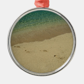 Tropical sandy beach with footprints metal ornament