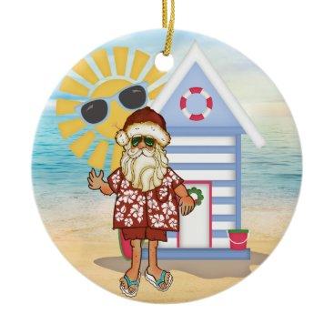 Christmas Themed Tropical Santa Christmas Ornament with Surf Board