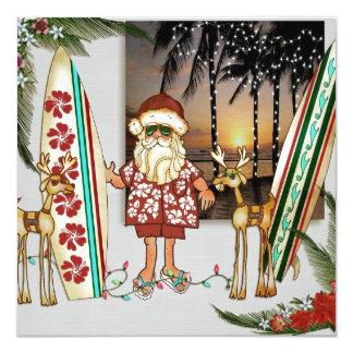 "Tropical Santa Christmas Party Invitation 5.25"" Square Invitation Card"