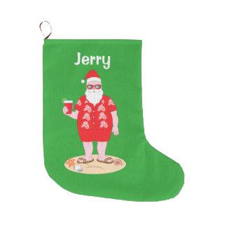 Tropical Santa Claus Large Christmas Stocking