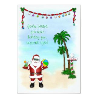 "Tropical Santa Holiday Invitation 5"" X 7"" Invitation Card"