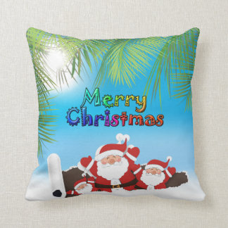 tropical Santa Throw Pillow