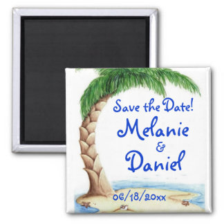 Tropical Save the Date! 2 Inch Square Magnet