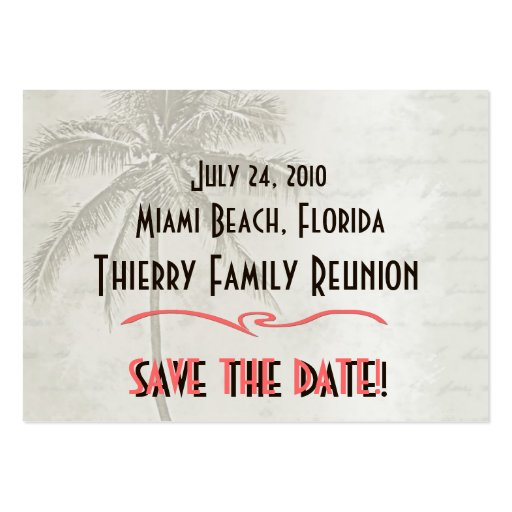 Tropical Save the Date Family Reunion Business Card
