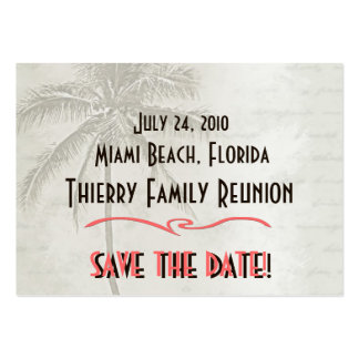 Tropical Save the Date Family Reunion Large Business Card