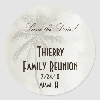 Tropical Save the Date Family Reunion Classic Round Sticker