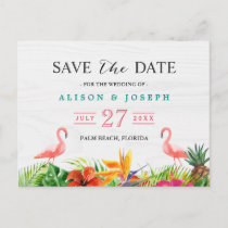 Tropical Save The Date   Hibiscus Floral Flamingo Announcement Postcard