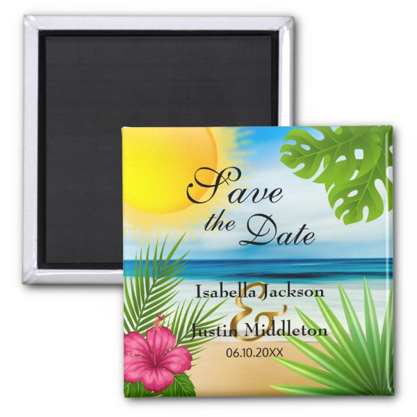 Tropical Save the Date Magnet