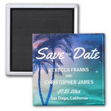 Beach Themed Tropical Save the Date Magnets | Palm Trees