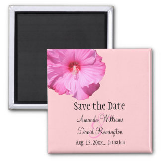 Tropical Save the Date (pink) Fridge Magnets