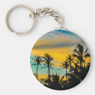 Tropical Scene at Sunset Time Keychain